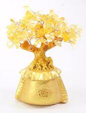 "7"" Feng Shui Gold Money Tree Citrine Stone Fortune Bag Pot Wealth US Gift Seller"