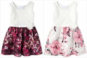 NWT-The-Childrens-Place-Girls-Sleeveless-Lace-Floral-Dress-2T-3T-4T-5T