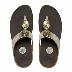 433a1974bc90 Image is loading NEW-FitFlop-PIERRA-JEWELED-TOE-THONG-SANDALS-Gold-