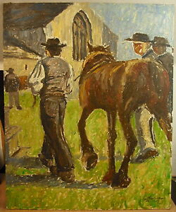 Olio-Firmato-Jean-Michel-Offresson-Cavallo-Breton-in-a-Bretagna-Breizh