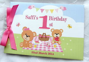 personalised 1st first birthday teddy bears picnic blue pink
