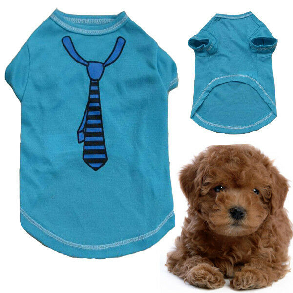 NEW Cute Pet Blue Tie T Shirt Puppy Dog Fashion Warm Clothes Halloween Costume