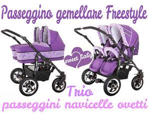 Ambitieux Passeggino Gemellare Freestyle 3in1 Navicelle Ovetti Viola+fantasia Pupazzi Trio Ferme En Structure