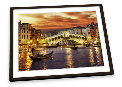 Venise Italie Sunset Orange encadrée Art Imprimé Photo Artwork