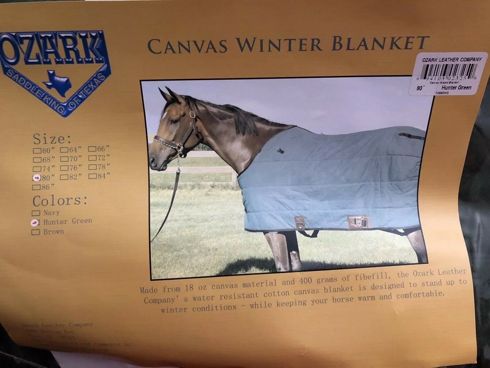 "New Ozark  Learher Canvas Winter Horse Blanket Size 80"" Hunter Green  fast shipping worldwide"