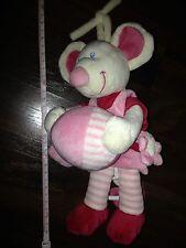 Spieluhr BdB Karstadt Maus Kuscheltier Rosa Pink Weiß Kleid Ball Schleife Blume