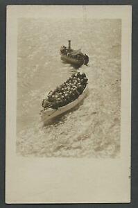 c-1910-RPPC-Photo-Postcard-American-Steamboat-Pulling-Transport-of-US-Sailors
