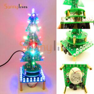Rotating Colorful Light Electronic Christmas Tree with Music LED Display DIY Kit