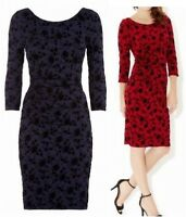 New Ex Monsoon Navy or Red Fran Velvet Flock Party Dress Size 12 -16