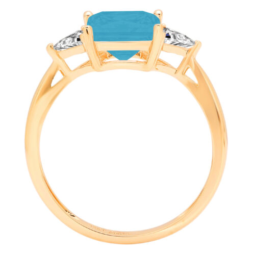 Details about  /2.4ct PR Trillion 3 stone Turquoise Stone Promise Wedding Ring 14k Yellow Gold