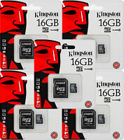 5x Kingston 16gb Micro Sdhc Class 10 Sd Card & Adapter Sdc10g2/16gbfr [f33]