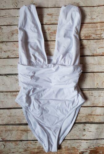New Ex Branded TALL Gathered Waist Band Plunge Swimsuit White Swimwear Holiday