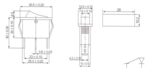 5 un Luz Verde Iluminado rectángulo 2 posición Rocker Switch 3 Pin 12v Ac//dc