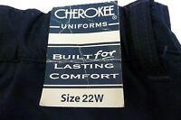 Cherokee Uniform Pants 22 Women's Navy Work Button Zipper Front Bottoms