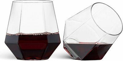 32 Pack Plastic Stemless Wine Glasses 12 Oz Clear Diamond Shaped Whiskey Cups   eBay