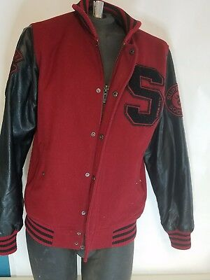 Supreme Society Hooded Varsity Letterman Style Jacket Mens XL Preowned