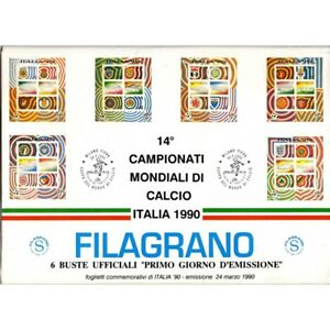 1990-FDC-Filagrano-Italy-90-6-Bags-of-Sturdy-Sampled-Worldwide-Football