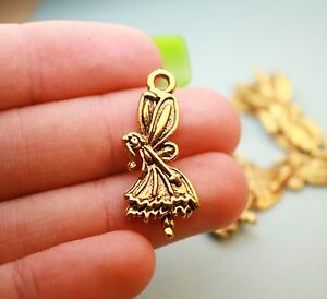 10 gold fairy charms 29 x 12 mm angel charm pendants antique gold image is loading 10 gold fairy charms 29 x 12 mm aloadofball Image collections
