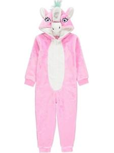 6f7b3d7ec Girls Pyjamas Unicorn Sleepsuit Pink Fleece Hooded One Piece Pjs 6 ...