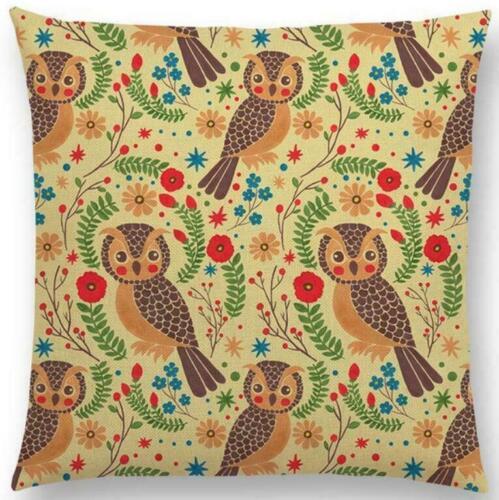 Cute Animals Cushion Cover Cotton Linen Waist Throw Pillow Case Sofa Home