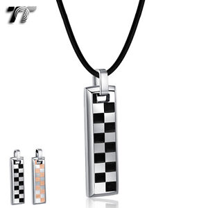 Quality-TT-Black-Rose-Gold-S-Steel-Chessboard-Dog-Tag-Pendant-Necklace-NP336