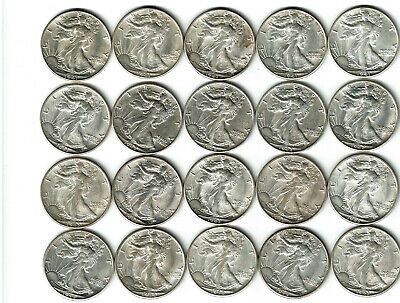 20 Walking Liberty Silver Half Dollar Roll ~ AU About Uncirculated ~ Coin Lot