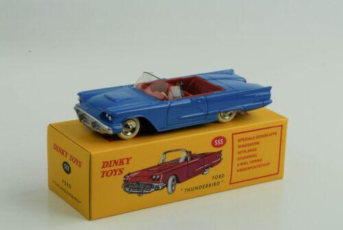 Ford Thunderbird Cabriolet mit Fahrer blau  Ref 555 1:43 Dinky Toys Atlas