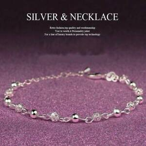 Lady-925-Silver-Plated-Ball-Chain-Anklet-Crystal-Bracelet-Xmas-Christmas-Jewelry