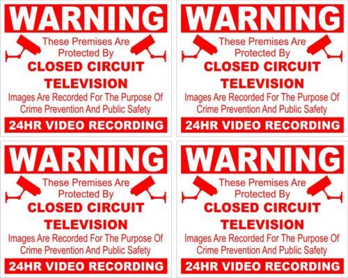 CCTV warning sticker X 4 security safety camera sign sticky back//face 5cmx4cm