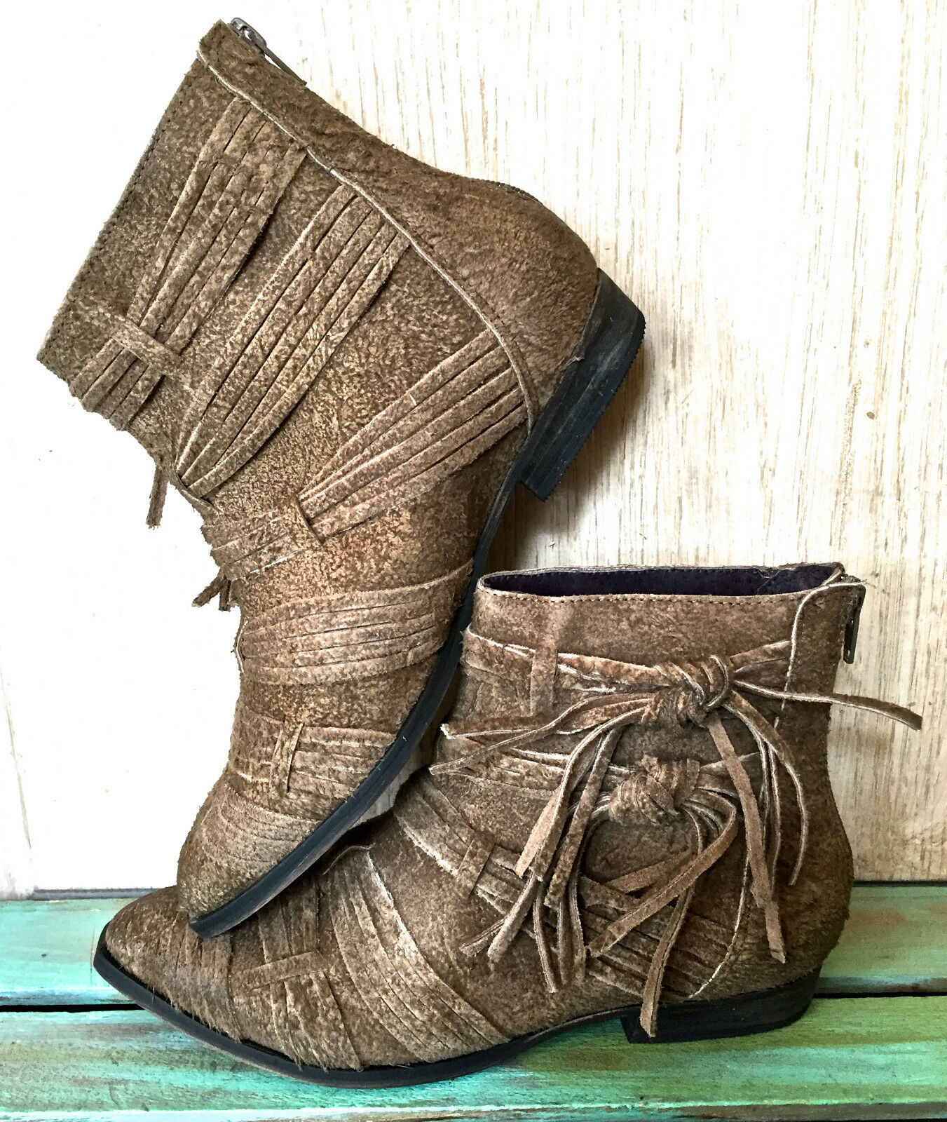 NEW Free People tan distress suede Decades Ankle Stiefel Stiefel Stiefel Stiefelie 39   8-8.5  178 d3400b