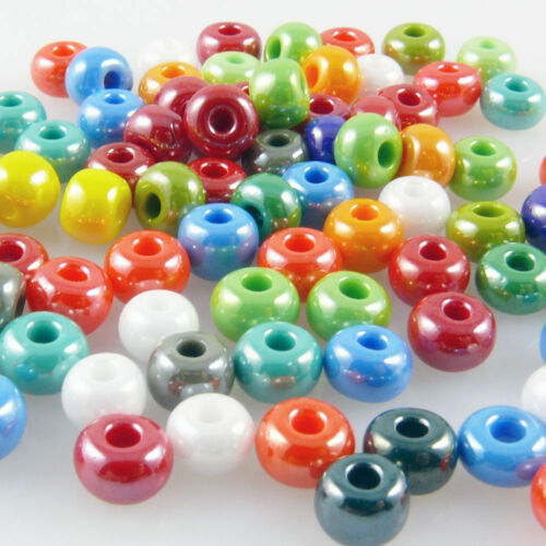 101 90x grande rocaille 3//0 perles perles de verre couleurs-Mix 5,7mm Beads coloré