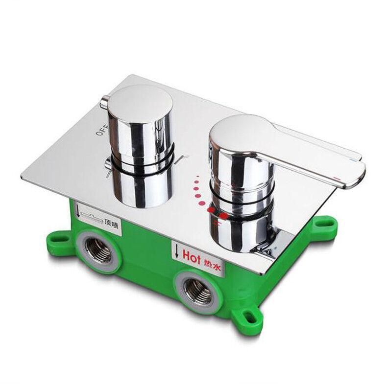 Douche Robinet Vanne mélangeuse 3 voies chaud et froid dissimulée facile-mount box 2 Poignée