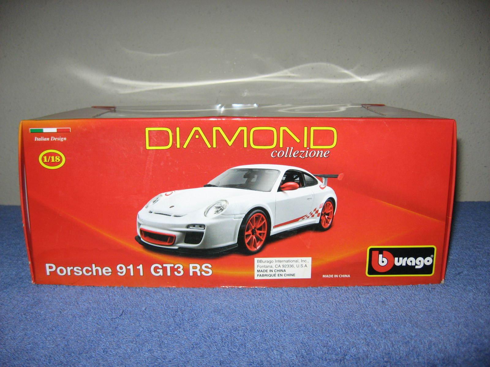 PORSCHE 911 GT3 RS Bburago 1 18 Diecast modèle ouverture capot, Portes & Arrière, RARE