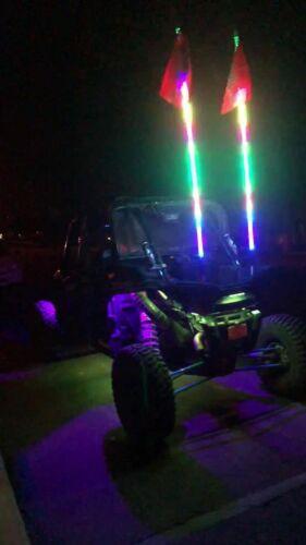 FIA x2PCS 2Feet Dream Color Twist Spiral Wrapped Whip Lights Chasing ATV UTV RZR