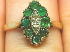 14k Gold 14ct gold Art Deco Emerald & diamond Marquise ring size L