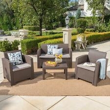 Dayton Outdoor 4 Piece Faux Wicker Rattan Chat Set with Water Resistant Cushions