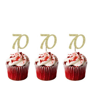 Image Is Loading 70th Cupcake Toppers Glittery Gold Pack Of 10