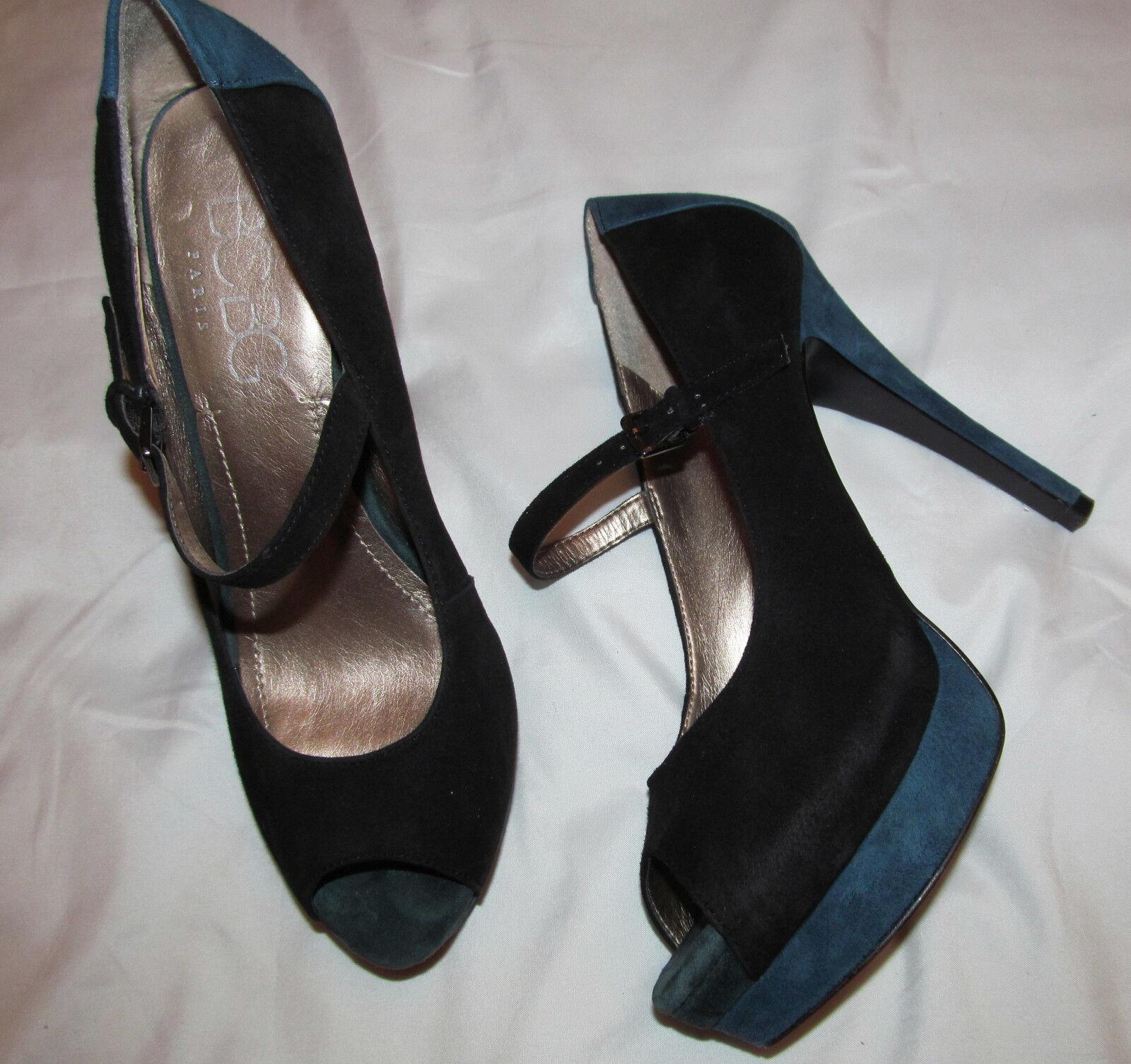 Bcbg Paris frannkie Gamuza Negro Y Azul Marino Marino Marino Mary Jane De Tacón Alto Peep Toe De Zapatos 15e0a2