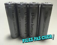 4 PILES ACCUS RECHARGEABLE TR 18650 3.7v 3200mAh Li-ion BATTERIES • QUALITÉ PRO