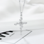 925-Solid-Sterling-Silver-Rose-Cross-Cubic-Zirconia-Pendant-Necklace-Jewellery thumbnail 6