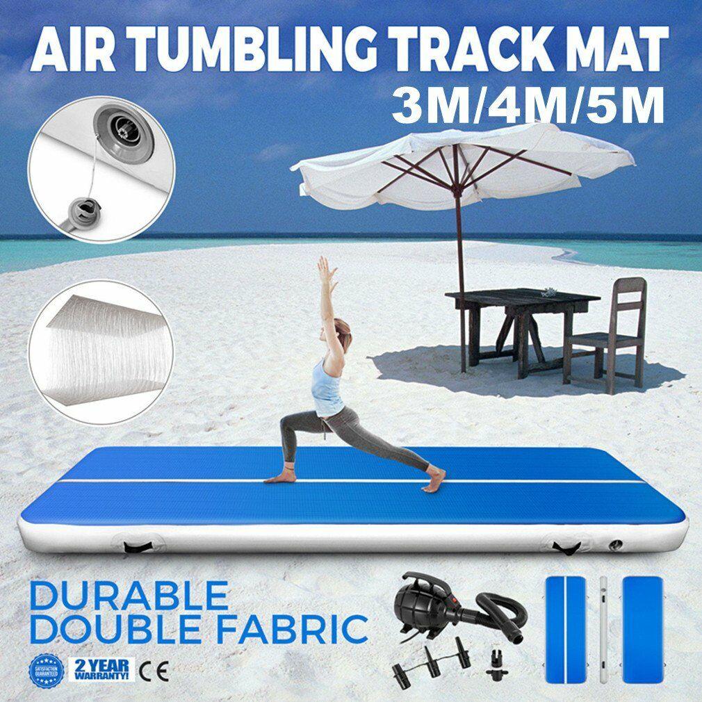 3/4/5M Pro Home Gymnastics Tumbling Air Track Mat Inflatable Taekwondo + Pump N