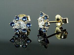 585-Gold-Ohrstecker-mit-blauen-Saphir-Steinen-und-Zirkonia-8-2-mm-1-Paar