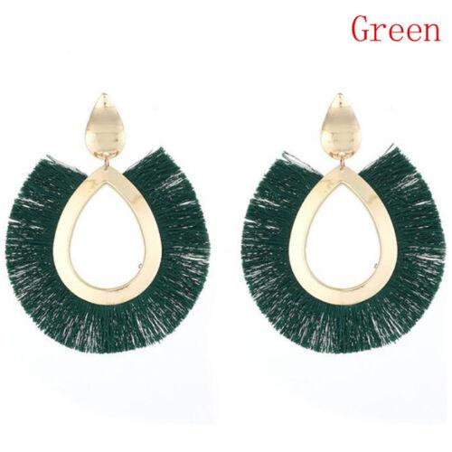 Womens Bohemian Earrings Long Tassel Fringe Boho Drop Dangle Earrings Jewelry IU