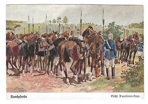 AK-Kuenstlerkarte-von-Doebbrich-Steglitz-034-Handpferde-Saechs-Carabinier-Rgt-034