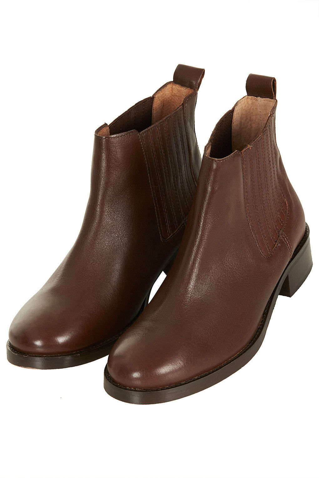 TOPSHOP AUGUST BROWN CHOCOLATE LEATHER CLASSIC CHELSEA BOOTS 4 37