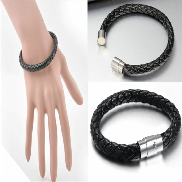 Unisex Black Men's Genuine Braided Leather Cool Magnetic Clasp Gift Bracelet New