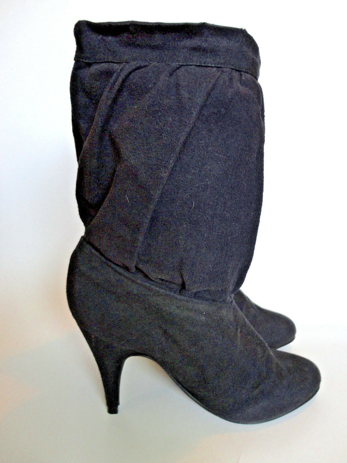 LADY McQUIRE {Size 7.5} Women's Black High Heel Slouch Fabric Boots VERY NICE!