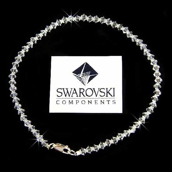 Semplice Sposa Fatto di Cristallo Swarovski Spiaggia argentoo Sterling Sterling Sterling Cavigliera 8df316