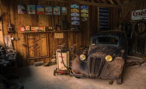 10518 -Garage Werkstatt Vintage Staubig Murals XXL VLIES Fototapete-ALTES AUTO-