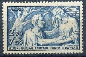 FRANCE-TIMBRE-N-498-SECOURS-NATIONAL-ENTRAIDE-D-HIVER-DU-MARECHAL
